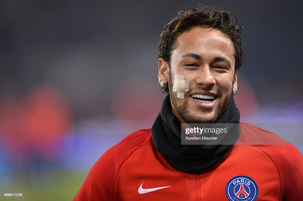 Neymar Jr of Paris Saint-Germain reacts during warmup before the Ligue 1 match between Paris Saint Germain and SM Caen at Parc des Princes on December 20, 2017 in Paris, France.