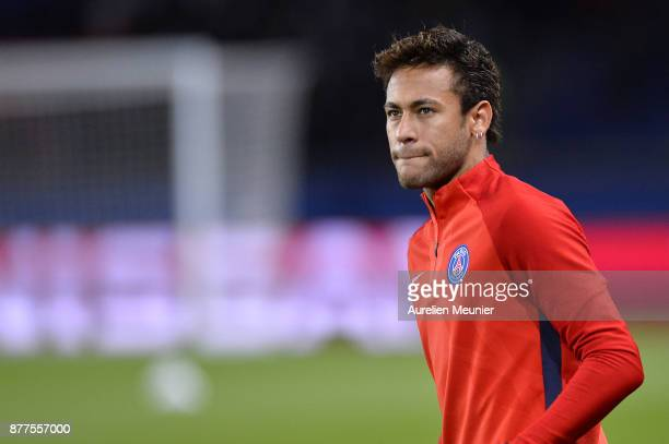 Neymar Jr of Paris SaintGermain reacts during warmup before the UEFA Champions League group B match between Paris SaintGermain and Celtic Glasgow at...