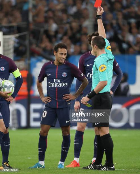 Neymar Jr of Paris SaintGermain receive a red card by the referee Ruddy Buquet during the Ligue 1cmatch between Olympique Marseille and Paris Saint...