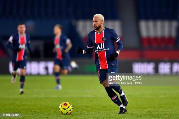 Neymar Jr of Paris Saint-Germain runs with the ball during the Ligue 1 match between Paris Saint-Germain and Girondins Bordeaux at Parc des Princes...