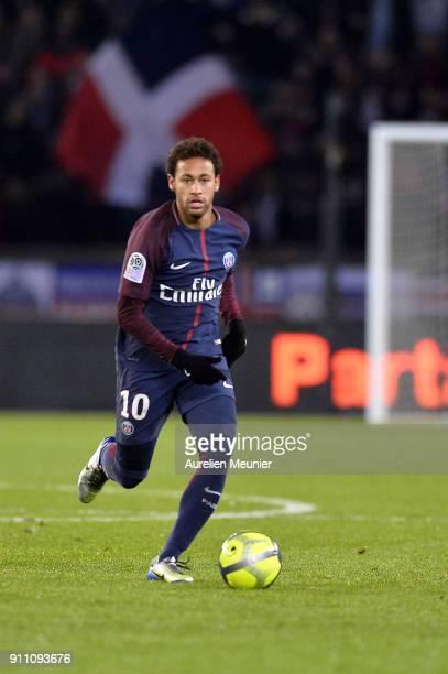 Neymar Jr of Paris SaintGermain runs with the ball during the Ligue 1 match between Paris Saint Germain and Montpellier Herault SC at Parc des...