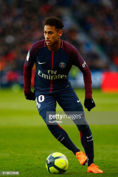 Neymar Jr of Paris SaintGermain runs with the ball during the Ligue 1 match between Paris saintGermain and Strasbourg at Parc des Princes on February...