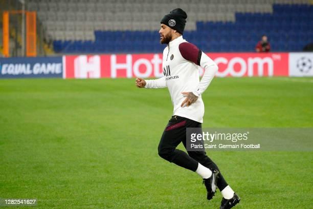 Neymar Jr of Paris SaintGermain warms up during a training session ahead of the UEFA Champions League Group H stage match between Paris SaintGermain...