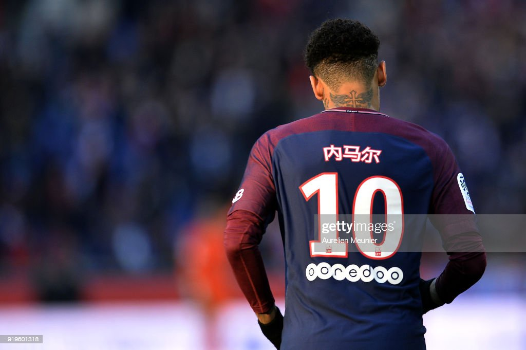 Neymar Jr of Paris Saint-Germain's name is written in Chinese on his shirt as a tribute to the Chinese New Year, during the Ligue 1 match between Paris saint-Germain and Strasbourg at Parc des Princes on February 17, 2018 in Paris, France.