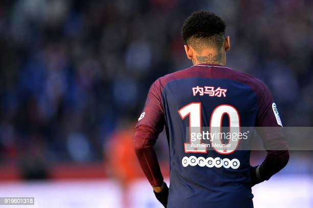 Neymar Jr of Paris SaintGermain's name is written in Chinese on his shirt as a tribute to the Chinese New Year during the Ligue 1 match between Paris...
