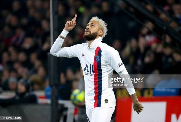 Neymar Jr of Paris SaintGerman celebrates after scoring the second goal of his team looking up in honor to the NBA legend's death Kobe Bryant during...