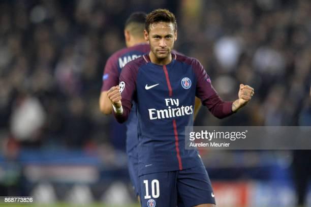 Neymar Jr of ParisGermain reacts after scoring during the UEFA Champions League group B match between Paris SaintGermain and RSC Anderlecht at Parc...