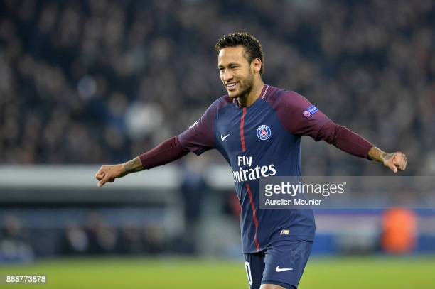Neymar Jr of ParisGermain reacts after teammate Layvin Kurzawa scored his hat trick during the UEFA Champions League group B match between Paris...