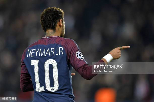 Neymar Jr of ParisGermain reacts during the UEFA Champions League group B match between Paris SaintGermain and RSC Anderlecht at Parc des Princes on...