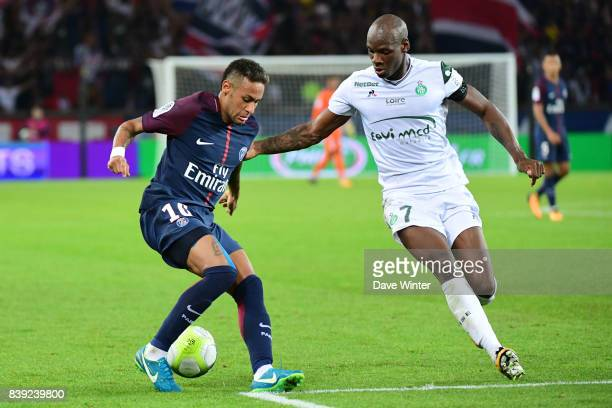 Neymar JR of PSG and Bryan Dabo of St Etienne during the Ligue 1 match between Paris Saint Germain and AS Saint Etienne at Parc des Princes on August...