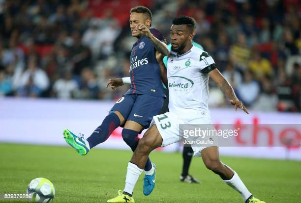 Neymar Jr of PSG and Habib Maiga of SaintEtienne during the French Ligue 1 match between Paris Saint Germain and AS SaintEtienne at Parc des Princes...