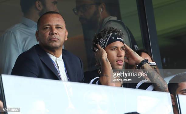 Neymar Jr of PSG and his father Neymar da Silva Santos aka Neymar Sr during the French Ligue 1 match between Paris Saint Germain and Amiens SC at...