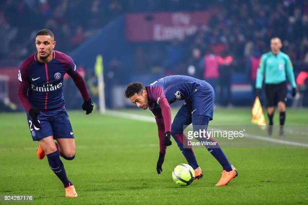 Neymar JR of PSG and Layvin Kurzawa of PSG during the Ligue 1 match between Paris Saint Germain and Olympique Marseille at Parc des Princes on...