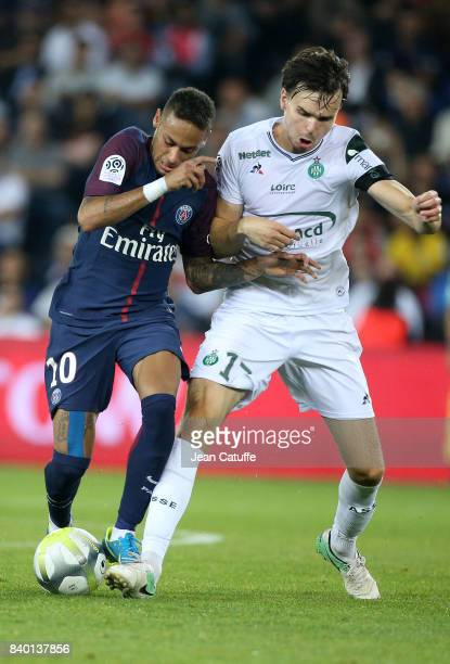Neymar Jr of PSG and Ole Selnaes of SaintEtienne during the French Ligue 1 match between Paris Saint Germain and AS SaintEtienne at Parc des Princes...
