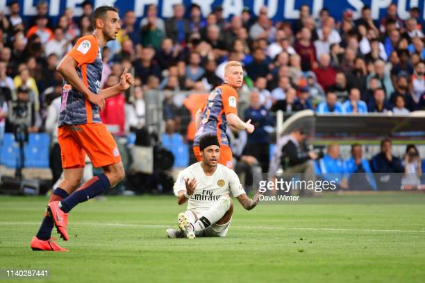 Neymar JR of PSG appeals in vain for a freekick during the Ligue 1 match between Montpellier and Paris Saint Germain on April 30 2019 in Montpellier...