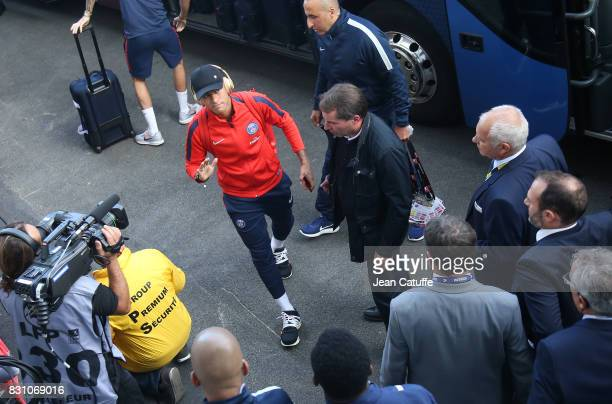 Neymar Jr of PSG arrives at the stadium before the French Ligue 1 match between En Avant Guingamp and Paris Saint Germain at Stade de Roudourou on...