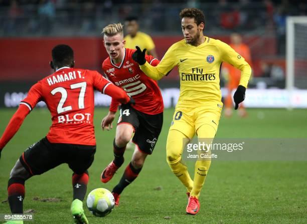 Neymar Jr of PSG Benjamin Bourigeaud of Stade Rennais during the French Ligue 1 match between Stade Rennais and Paris Saint Germain at Roazhon Park...