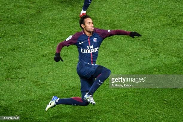 Neymar Jr of PSG celebrates a goal during the Ligue 1 match between Paris Saint Germain and Dijon FCO at Parc des Princes on January 17 2018 in Paris