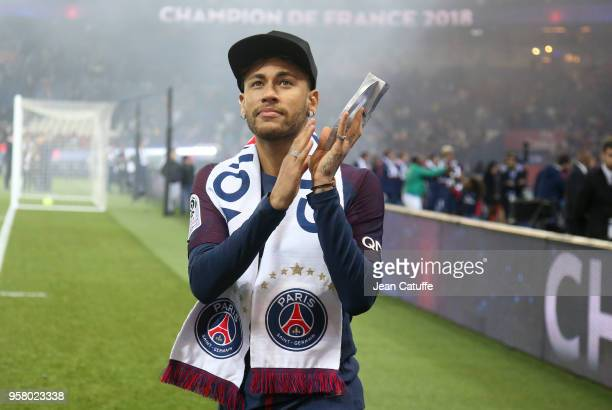 Neymar Jr of PSG celebrates during the French Ligue 1 Championship Trophy Ceremony following the Ligue 1 match between Paris SaintGermain and Stade...