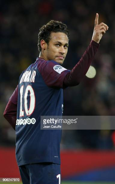 Neymar Jr of PSG celebrates his first goal during the French Ligue 1 match between Paris Saint Germain and Dijon FCO at Parc des Princes stadium on...