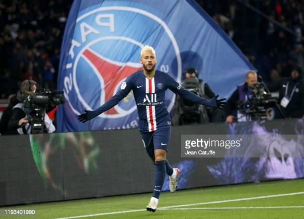 Neymar Jr of PSG celebrates his first goal during the Ligue 1 match between Paris Saint-Germain and AS Monaco at Parc des Princes stadium on January...