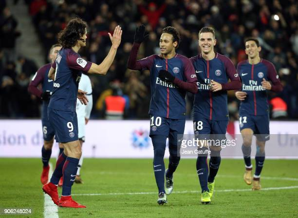 Neymar Jr of PSG celebrates his first goal with Edinson Cavani Giovani Lo Celso Angel Di Maria during the French Ligue 1 match between Paris Saint...