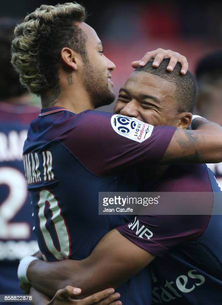 Neymar Jr of PSG celebrates his first goal with Kylian Mbappe during the French Ligue 1 match between Paris SaintGermain and FC Girondins de Bordeaux...