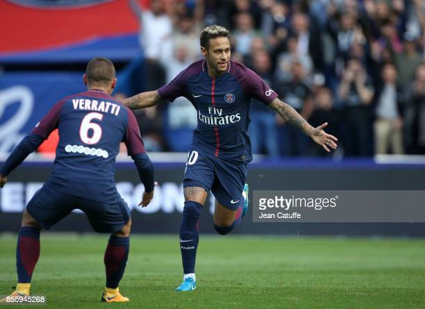 Neymar Jr of PSG celebrates his goal during the French Ligue 1 match between Paris SaintGermain and FC Girondins de Bordeaux at Parc des Princes on...