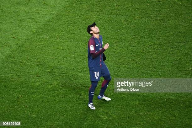 Neymar Jr of PSG celebrates his goal during the Ligue 1 match between Paris Saint Germain and Dijon FCO at Parc des Princes on January 17 2018 in...