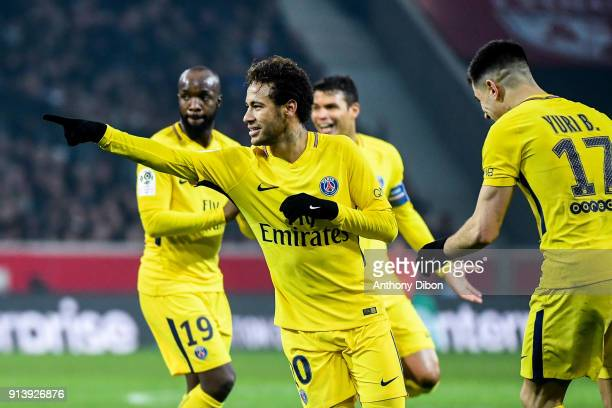 Neymar Jr of PSG celebrates his goal during the Ligue 1 match between Lille OSC and Paris Saint Germain PSG at Stade Pierre Mauroy on February 3 2018...