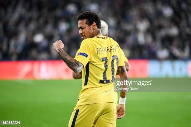 Neymar Jr of PSG celebrates his goal during the UEFA Champions League match between RSC Anderlecht and Paris SaintGermain at Constant Vanden Stock...