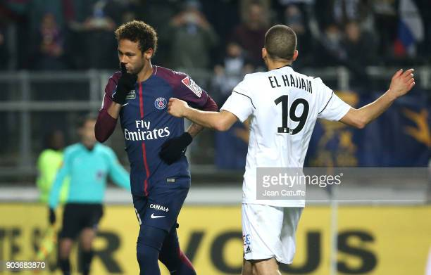Neymar Jr of PSG celebrates his goal in front of Oualid El Hajjam of Amiens during the French League Cup match between Amiens SC and Paris Saint...