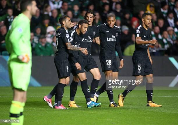 Neymar Jr of PSG celebrates his goal with Dani Alves aka Daniel Alves Edinson Cavani Kylian Mbappe Marquinhos during the UEFA Champions League match...