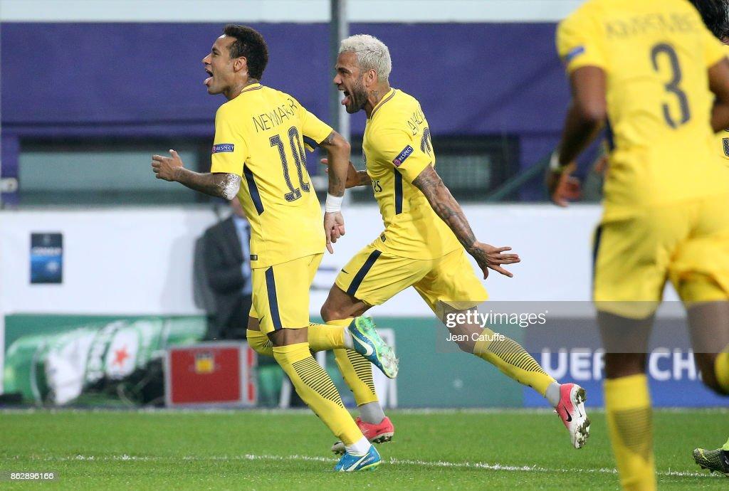 Neymar Jr of PSG celebrates his goal with Dani Alves aka Daniel Alves during the UEFA Champions League match between RSC Anderlecht and Paris Saint Germain (PSG) at Constant Vanden Stock Stadium on October 18, 2017 in Anderlecht, Brussels, Belgium.