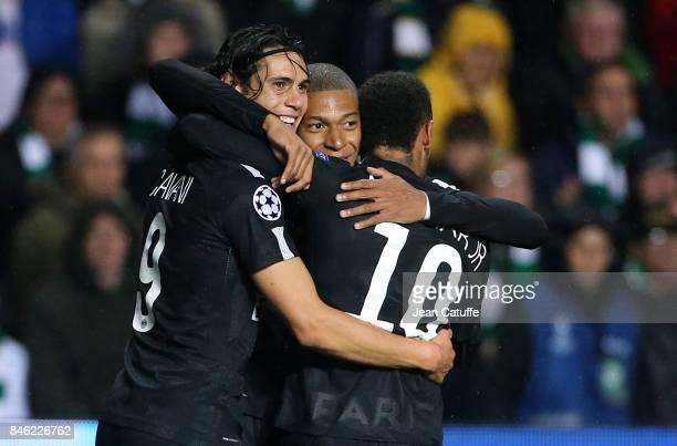 Neymar Jr of PSG celebrates his goal with Edinson Cavani Kylian Mbappe during the UEFA Champions League match between Celtic Glasgow and Paris Saint...