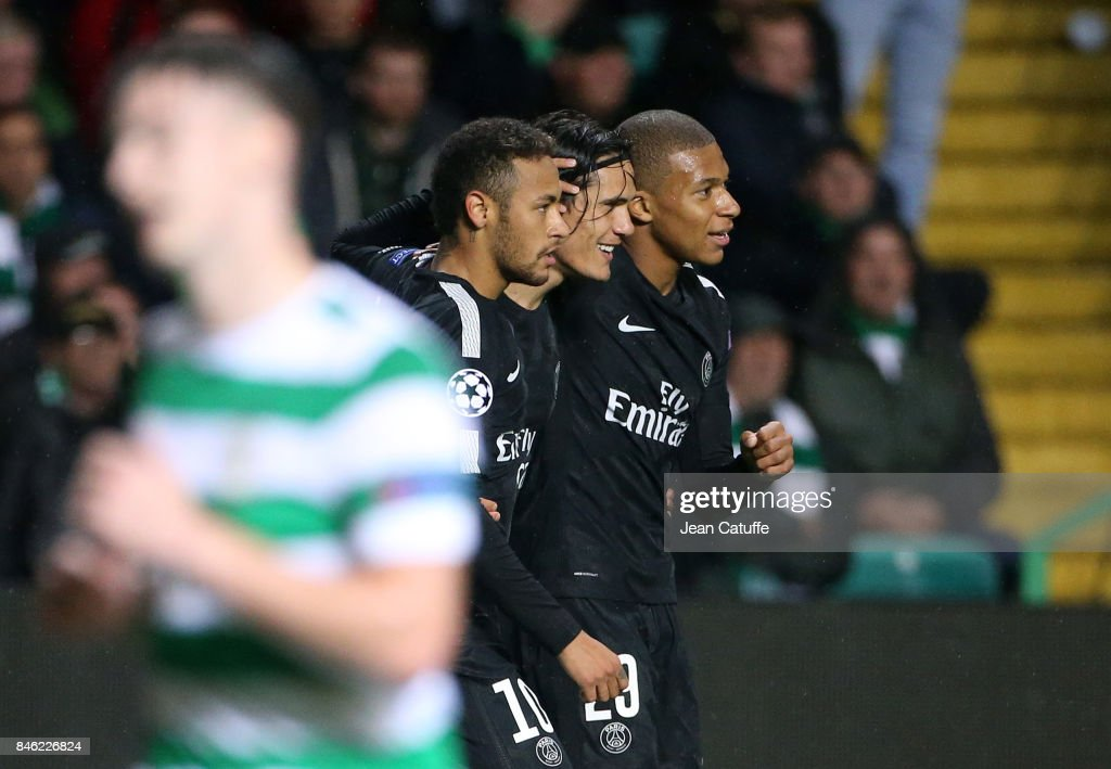Neymar Jr of PSG celebrates his goal with Edinson Cavani, Kylian Mbappe during the UEFA Champions League match between Celtic Glasgow and Paris Saint Germain (PSG) at Celtic Park on September 12, 2017 in Glasgow, Scotland.