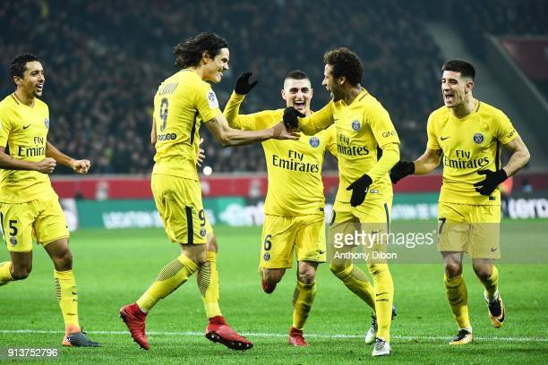 Neymar Jr of PSG celebrates his goal with Edinson Cavani Marco Verratti and Yuri Berchiche of PSG during the Ligue 1 match between Lille OSC and...