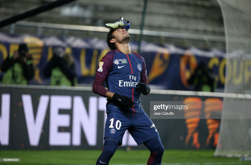 Neymar Jr of PSG celebrates his goal with his Nike shoe (boot) on his head during the French League Cup (Coupe de la Ligue) match between Amiens SC and Paris Saint Germain (PSG) at Stade de la Licorne on January 10, 2018 in Amiens, France.
