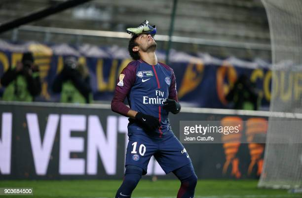 Neymar Jr of PSG celebrates his goal with his Nike shoe on his head during the French League Cup match between Amiens SC and Paris Saint Germain at...