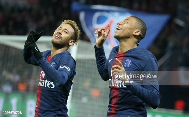 Neymar Jr of PSG celebrates his goal with Kylian Mbappe during the french Ligue 1 match between Paris SaintGermain and Lille OSC at Parc des Princes...