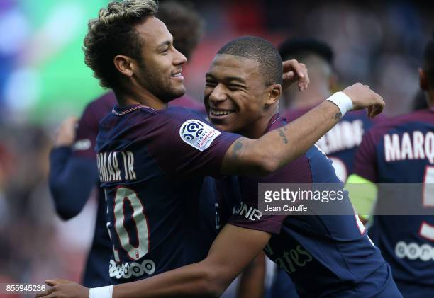 Neymar Jr of PSG celebrates his goal with Kylian Mbappe during the French Ligue 1 match between Paris SaintGermain and FC Girondins de Bordeaux at...