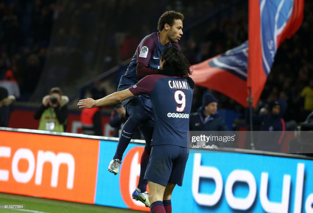 Neymar Jr of PSG celebrates his second goal with Edinson Cavani during the French Ligue 1 match between Paris Saint Germain (PSG) and Montpellier Herault SC (MHSC) at Parc des Princes on January 27, 2018 in Paris, France.