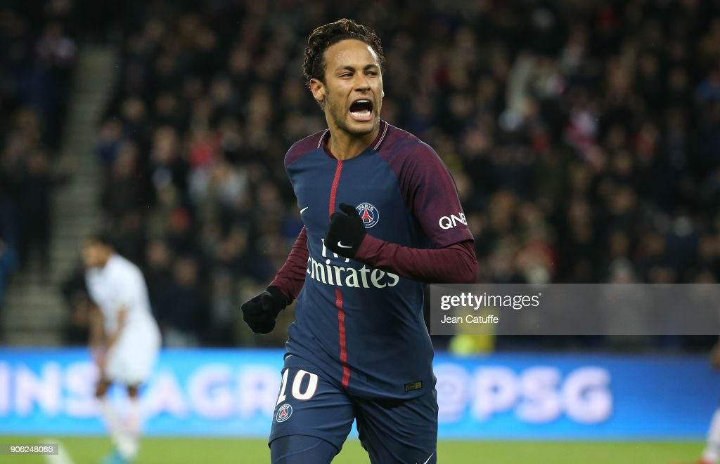 Neymar Jr of PSG celebrates his third goal during the French Ligue 1 match between Paris Saint Germain (PSG) and Dijon FCO at Parc des Princes stadium on January 17, 2018 in Paris, France.