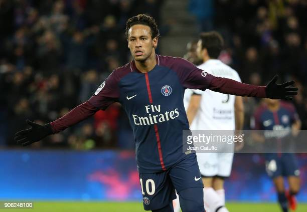 Neymar Jr of PSG celebrates his third goal during the French Ligue 1 match between Paris Saint Germain and Dijon FCO at Parc des Princes stadium on...
