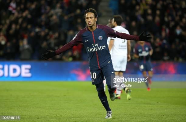 Neymar Jr of PSG celebrates his third goal during the French Ligue 1 match between Paris Saint Germain and Dijon FCO at Parc des Princes stadium on...