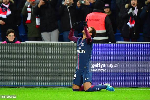 Neymar Jr of PSG celebrates scoring his first side's goal during the Ligue 1 match between Paris Saint Germain and Troyes Estac at Parc des Princes...