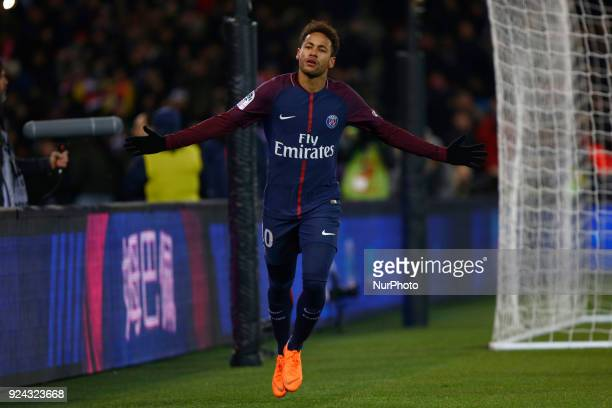 Neymar Jr of PSG during the French Championship Ligue 1 soccer match between Paris SaintGermain and Olympique de Marseille on february 25 2018 at...