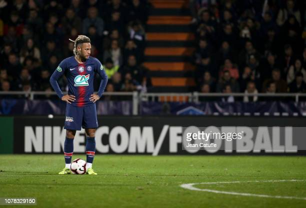 Neymar Jr of PSG during the French Cup match between GSI Pontivy and Paris Saint Germain at Stade du Moustoir on January 6 2019 in Lorient France