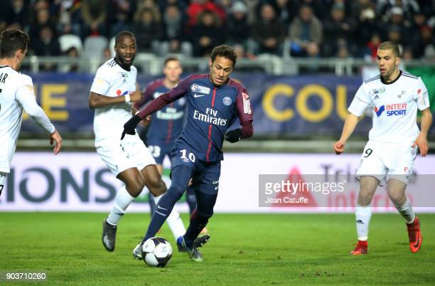 Neymar Jr of PSG during the French League Cup match between Amiens SC and Paris Saint Germain at Stade de la Licorne on January 10 2018 in Amiens...