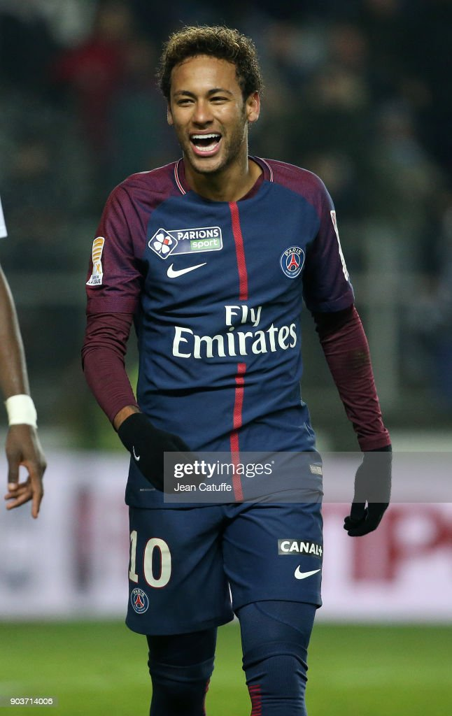 Neymar Jr of PSG during the French League Cup (Coupe de la Ligue) match between Amiens SC and Paris Saint Germain (PSG) at Stade de la Licorne on January 10, 2018 in Amiens, France.